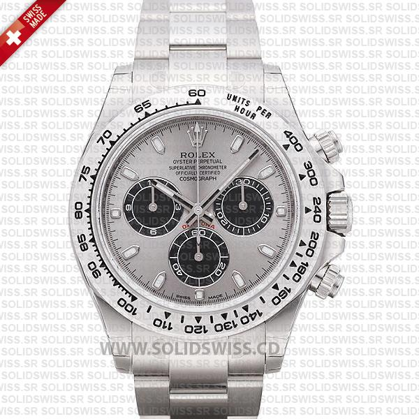Rolex Daytona 18K White Gold Steel Dial 40mm Best Swiss Replica