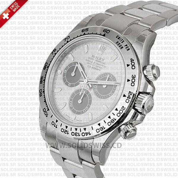 Rolex Oyster Perpetual Cosmograph Daytona 18k White Gold Steel Dial
