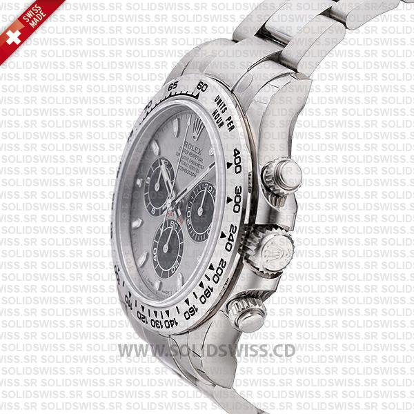 Rolex Daytona 18K White Gold Steel Dial 40mm Watch