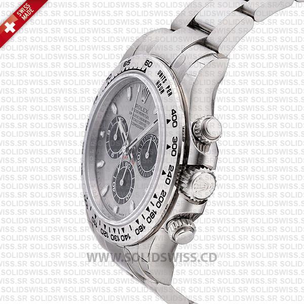 Rolex Daytona 18K White Gold Steel Dial 40mm Watch