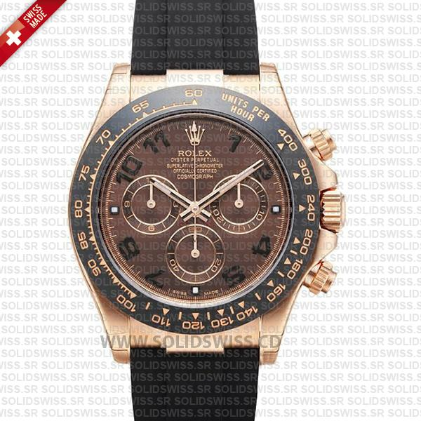 Rolex Daytona 18k Rose Gold Chocolate Arabic Dial   Solidswiss