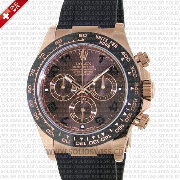 Rolex Daytona 18k Rose Gold Chocolate Arabic Dial 40mm