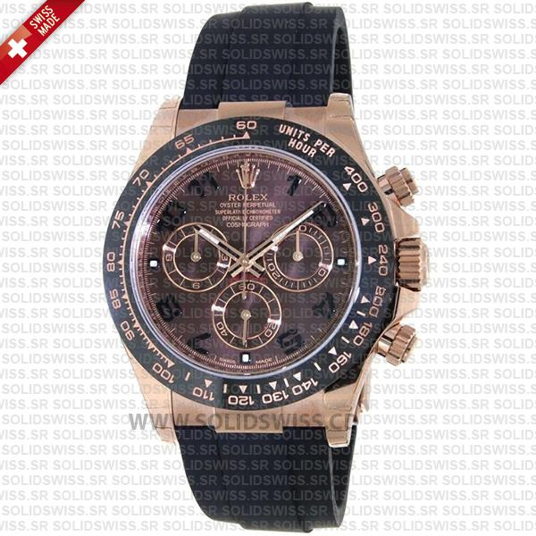 Rolex Daytona 18k Rose Gold Ceramic Bezel Chocolate Dial Rubber Band 40mm Swiss Replica Watch