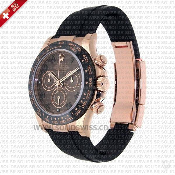 Rolex Daytona 18k Rose Gold Ceramic Bezel Chocolate Dial Rubber Band 40mm Swiss Replica Watch