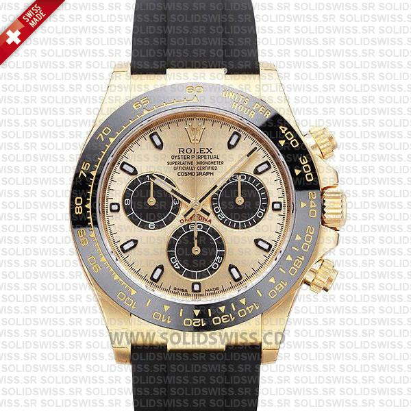 Rolex Daytona 18k Yellow Gold Ceramic Bezel | Gold Dial Watch