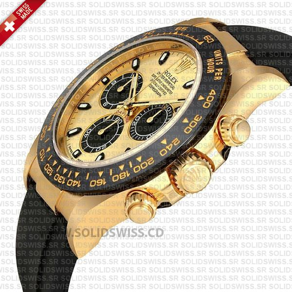 Rolex Daytona 18k Yellow Gold Ceramic Bezel Gold Dial Rubber Band 40mm Swiss Replica