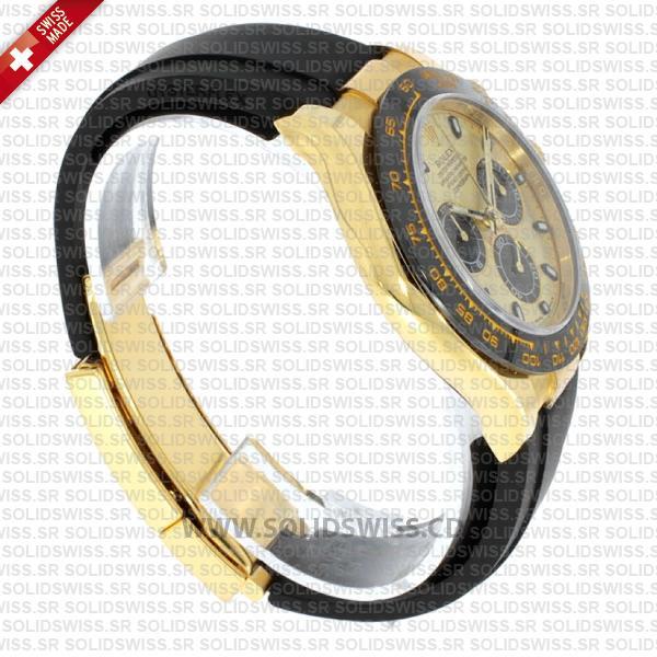Rolex Daytona 18k Yellow Gold Ceramic Bezel Gold Dial Rubber Band 40mm Swiss Replica