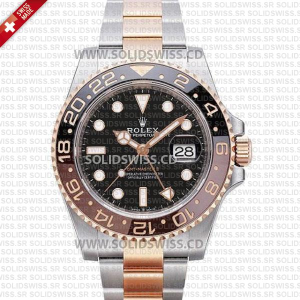 Rolex GMT-Master II 18k Rose Gold 2-Tone Oyster Ceramic Bezel 40mm Swiss Replica