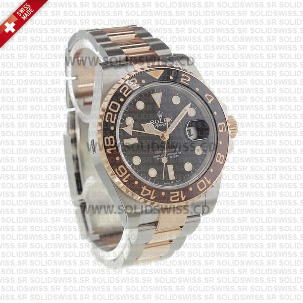 Rolex GMT-Master II Two Tone Rose Gold Black Dial