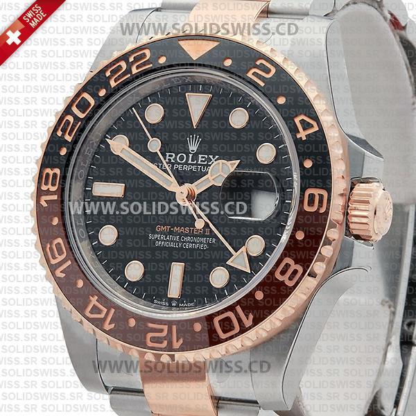 Rolex GMT-Master II Two Tone Rose Gold Swiss Replica Watch