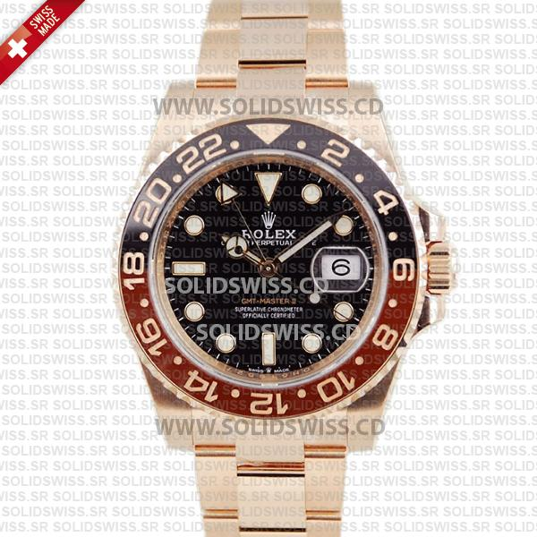Rolex GMT-Master II 18k Rose Gold Oyster Ceramic Bezel 40mm Swiss Replica