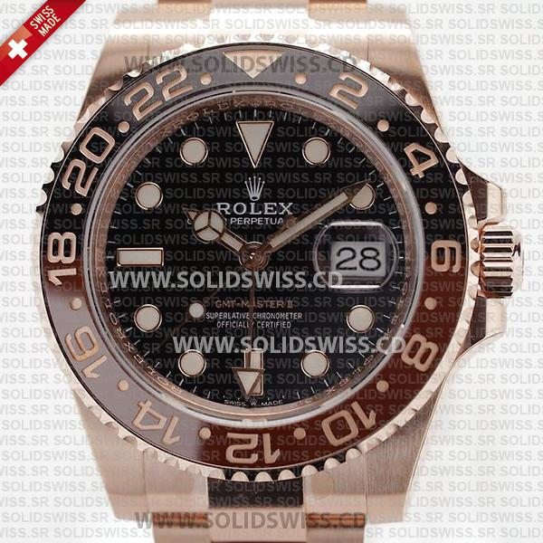 Rolex GMT-Master II 18k Rose Gold Black Dial