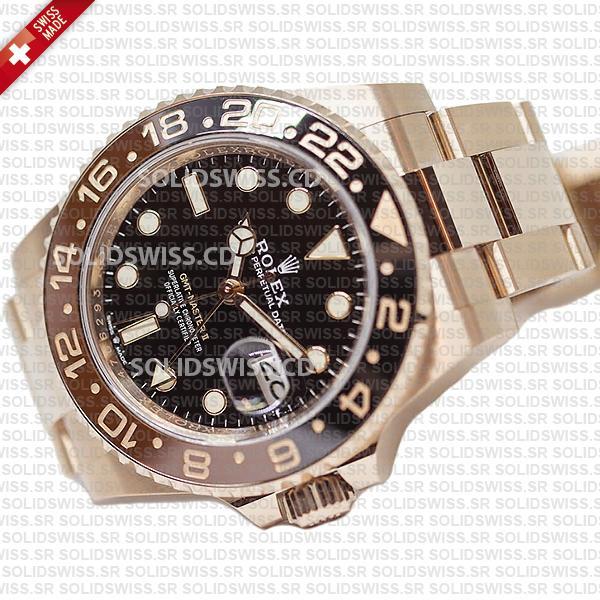 Rolex GMT-Master II Rose Gold 40mm   Root Beer Replica Watch