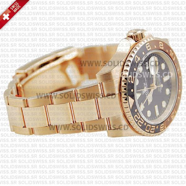 Rolex GMT-Master II 18k Rose Gold Brown Black Ceramic Bezel