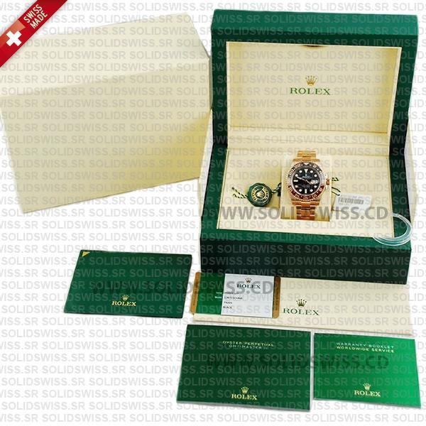 Rolex GMT-Master II 18k Rose Gold Black Dial 40mm Rolex Replica Watch
