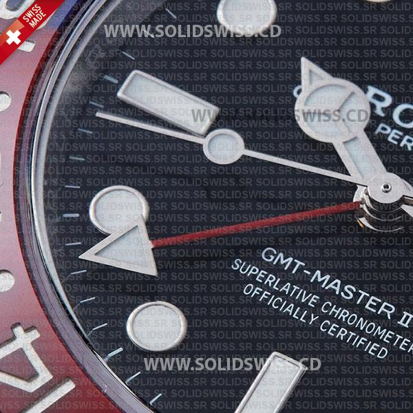 Rolex GMT-Master II Pepsi Red-Blue Ceramic Bezel Black Dial Steel Jubilee Bracelet 40mm Swiss Replica
