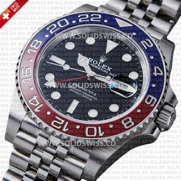 Rolex GMT-Master II Pepsi Red Blue Ceramic Bezel 40mm Black Dial Watch