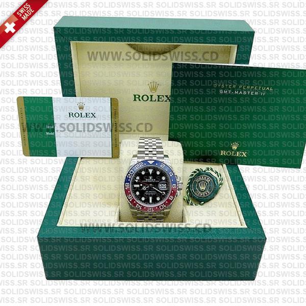 Rolex GMT-Master II Pepsi Red-Blue Ceramic Bezel Black Dial Steel Jubilee Bracelet 40mm Swiss Replica