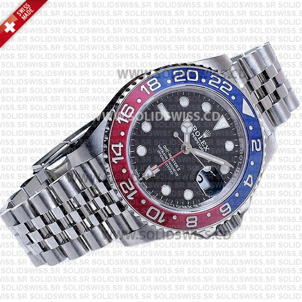 Rolex GMT-Master II Pepsi Black Dial 40mm Red Blue Ceramic Bezel Swiss Replica Watch