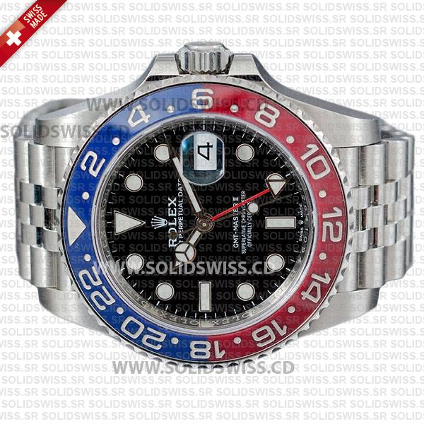 Rolex GMT-Master II Pepsi Black Dial 40mm Red Blue Ceramic Bezel Watch