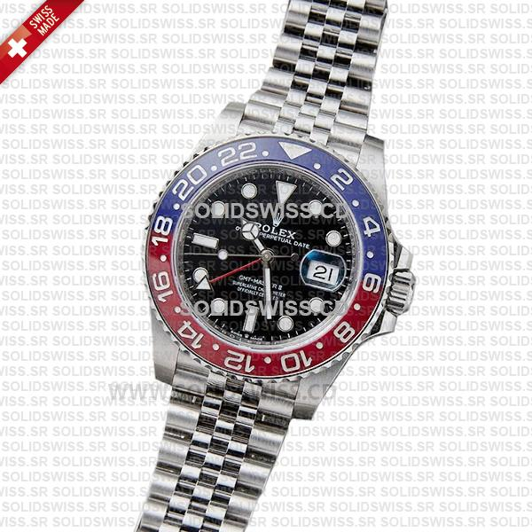 Rolex GMT-Master II Pepsi Black Dial 40mm Red Blue Ceramic Bezel Replica Watch