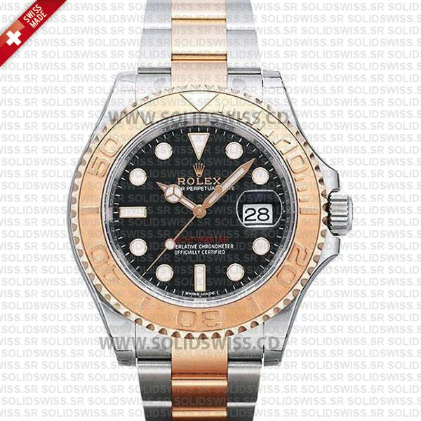 Rolex Yacht-Master Two-Tone Rose Gold | Black Dial Replica
