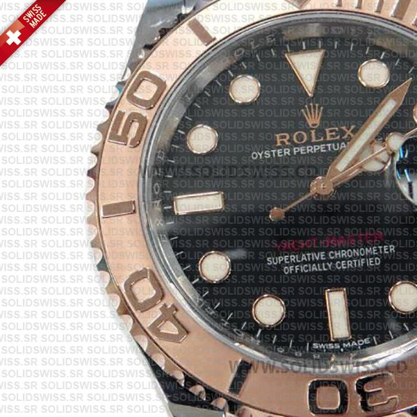 Rolex Yacht-Master 2016 Rose Gold 2-Tone Black Dial 40mm Solidswiss Swiss Replica