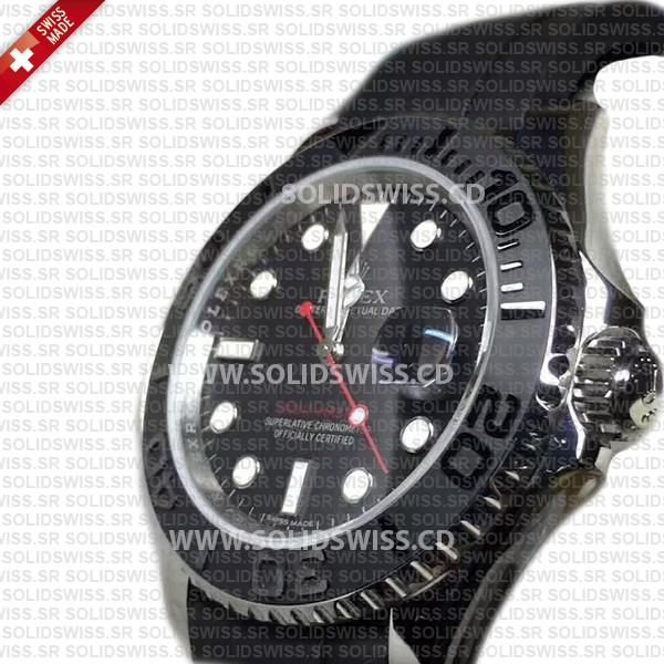 Rolex Yacht-Master Steel Black Dial Ceramic Bezel Rubber Band 40mm Swiss Replica