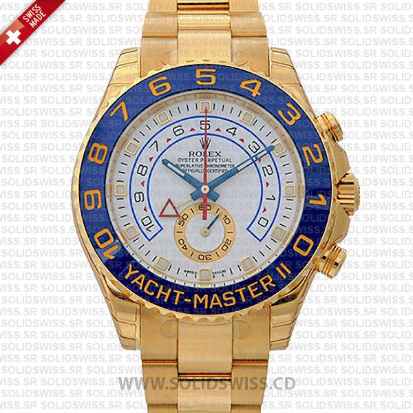Rolex Yacht-Master II Yellow Gold White 44mm Solidswiss cd