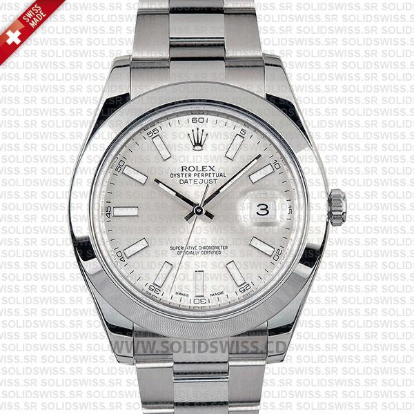 Rolex Datejust II Silver Dial 41mm   Solidswiss Replica Watch