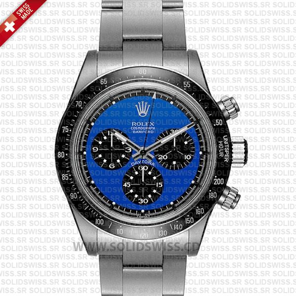 Rolex Daytona Paul Newman Blue Dial Stainless Steel Watch
