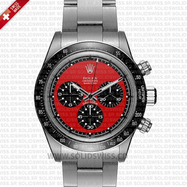 Rolex Daytona Bamford Newman Red Dial Steel 40mm Swiss replica