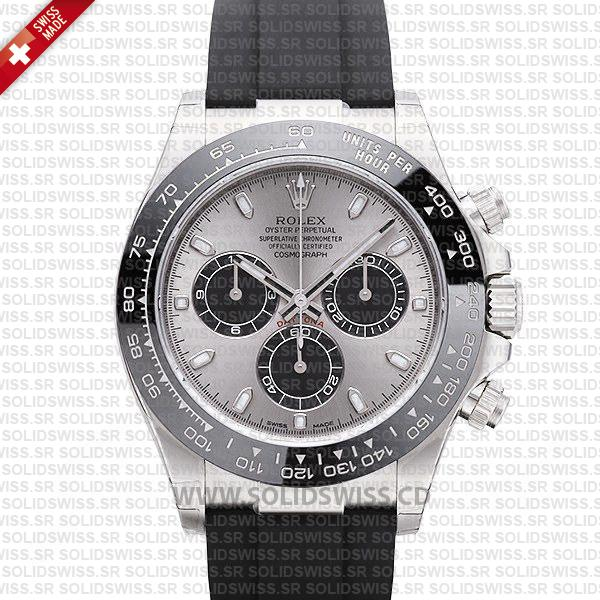 Rolex Daytona 18k White Gold Silver Dial Rubber Strap Watch
