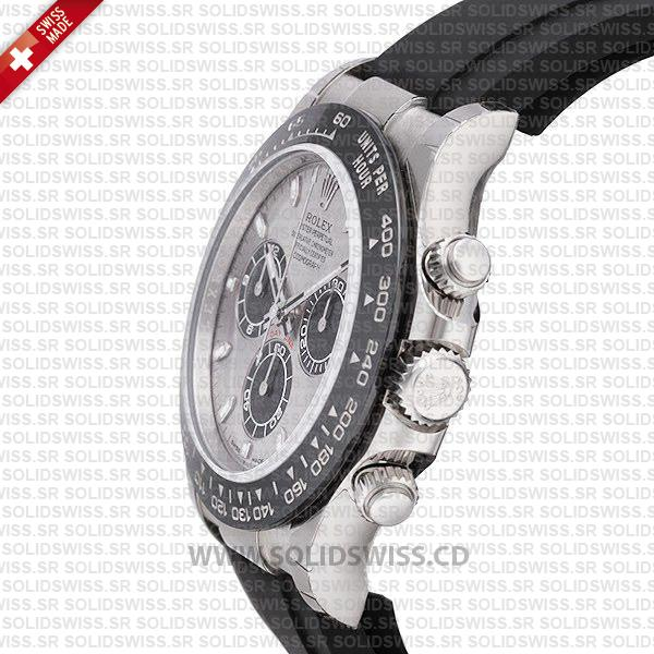 Rolex Daytona 18k White Gold Silver Dial Ceramic Bezel Rubber Band 40mm Swiss Replica