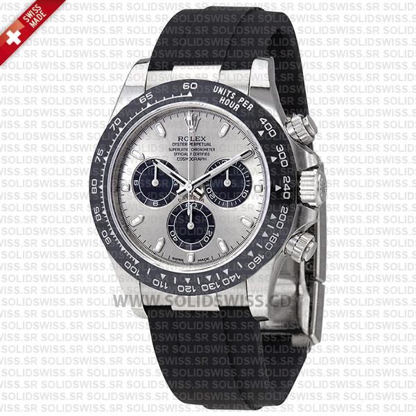 Rolex Daytona 18k White Gold Silver Dial Ceramic Bezel Rubber Band 40mm Swiss Replica