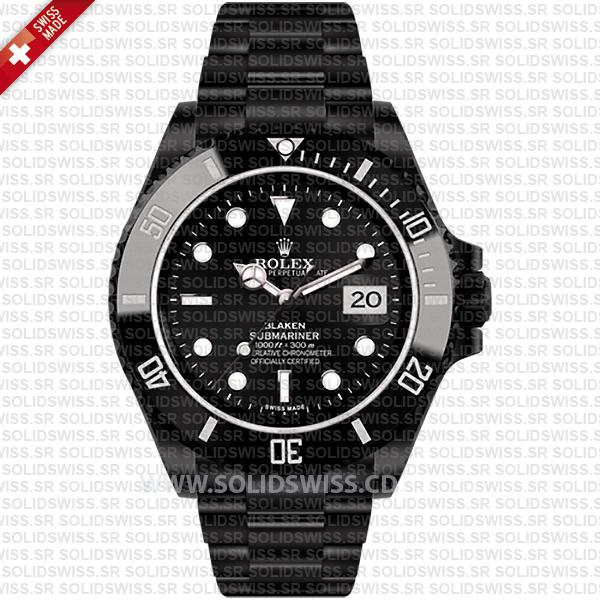 Rolex Submariner Blaken Black Dial DLC Black Ceramic Bezel 40mm Swiss Replica