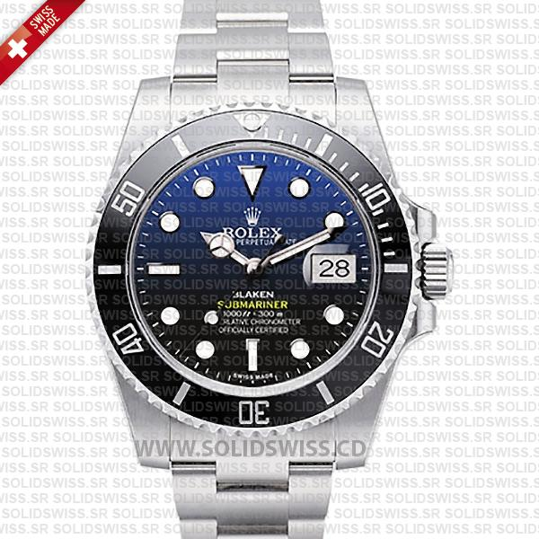 Rolex Submariner Blaken D-Blue Dial Black Ceramic Bezel Steel 40mm Swiss Replica