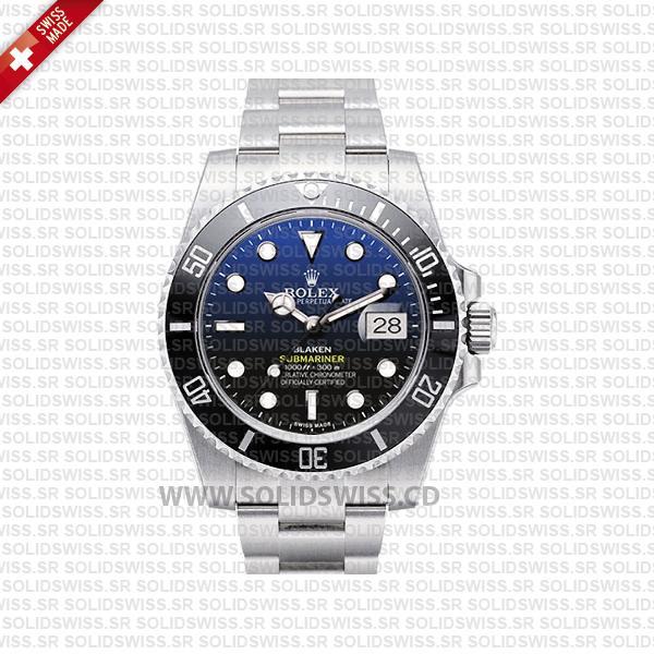 Rolex Submariner Blaken D-Blue Dial Black Ceramic Bezel Steel 40mm Swiss Replica