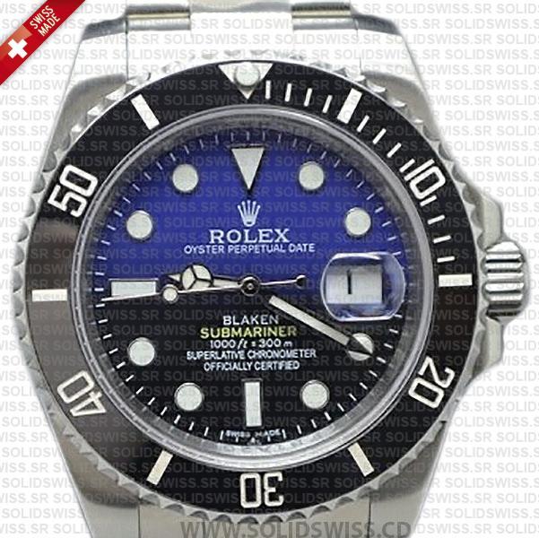Rolex Submariner Blaken D-Blue Dial Black Ceramic Bezel Steel