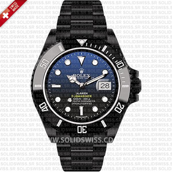 Rolex Submariner Blaken D-Blue Dial DLC Black Ceramic Bezel 40mm Swiss Replica