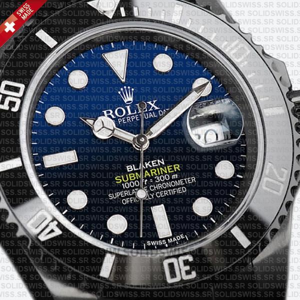Rolex Submariner Black Ceramic Bezel Swiss Replica Watch with Blaken D-Blue Dial