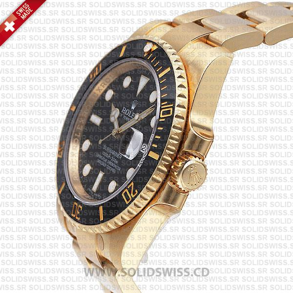 Rolex Submariner 18k Yellow Gold Black Dial Watch