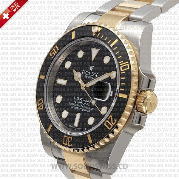 Rolex Submariner 2 Tone 904L Steel Black Dial Watch
