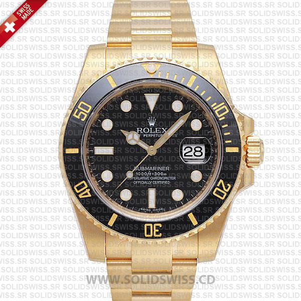 Rolex Submariner 18k Yellow Gold Black Dial Replica Watch