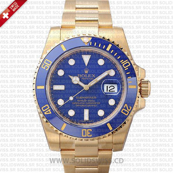 Rolex Submariner Gold Blue Ceramic | Swiss Replica Watch