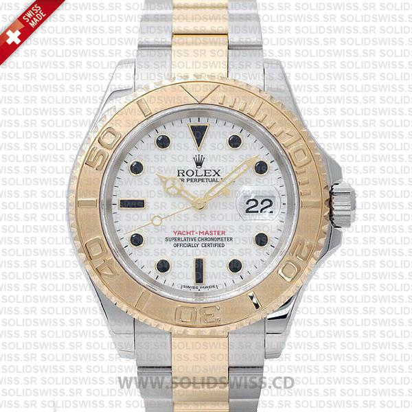 Rolex Yacht-Master Two-Tone Yellow Gold White Dial Watch