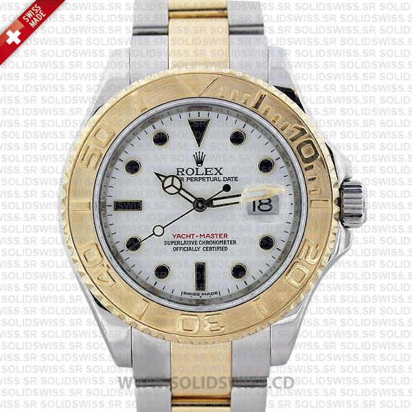 Rolex Yacht-Master Two-Tone Yellow Gold White Dial Replica